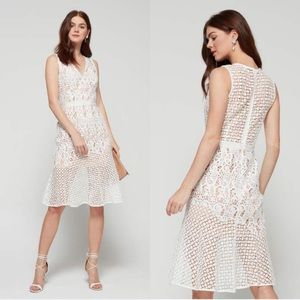 Adelyn Rae Fit & Flare Lace Midi Dress Off White